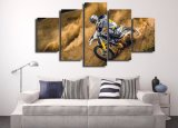 Decorative Canvas Painting Art Poster Wall Picture Home Print Decoration one Canvas 5 Panel Motorcycle for Living room Room Painting Frames