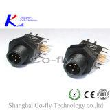 남성 플랜지 PCB M12는 90 정도 5 Pin 접합기 연결관을 주조했다