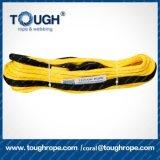 10mm*28m corda elétrica sintética trançada 13/32 de polegada do guincho com 1m protegem o dedal tubular de aço da luva, fechamento da extremidade do nariz para o guincho