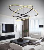 Moderne Cirkel het LEIDENE het Regelbare Hangen van de Kroonluchter Lichte Licht van de Tegenhanger van het Plafond van de Inzameling van Drie Ring Eigentijdse