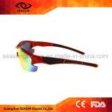 卸し売り赤い半分フレーム交換可能なレンズUV400の屋外スポーツの循環の連続したサングラス