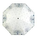سعادة شجرة يطوي تصميم ثلاثة دليل استخدام مظلة مفتوح