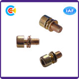 Acero de carbono de DIN/ANSI/BS/JIS/tornillos galvanizados hexagonales multicolores inoxidables de la combinación del ventilador M6