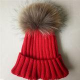 Stilvolle POM POM Winterknit-Hut-natürliche reale Waschbär-Hüte