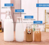 Glasmilchflasche mit Metallöse-Schutzkappe
