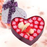 Día de San Valentín Venta caliente empacado en Caja de regalo 12 Rosas Jabón Flor con oso
