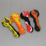 Beweglicher trockener Tabak/Kraut/rauchende Silikon-Rohre mit Glas-und Löffel-Silikon-Handrohr-Pfeife