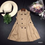 Nuovi prodotti di estate e della primavera 2018 con temperamento accurato, il vestito Sleeveless dalla ragazza del testo fisso del bracciale anteriore e bello del doppio di riga tasto di risvolto