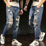 Los hombres de color sólido de la moda Skinny Jeans colocar Ripped Jeans lavado hombres estirar destruir Punk Hip Hop pantalones vaqueros algodón Denim hombre roto Chino pantalones vaqueros pantalones azul