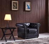 Wohnzimmer-Weinlese-Leder-Chesterfield-Sofa