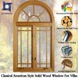 Estilo americano de madera sólida Ventana del marco (Sistema de red externo), Arco Diseño Ventana de madera maciza con Luz de rejilla externa