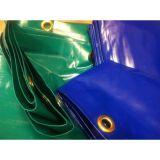青いPVCは防水シートによって補強されたロープPVC Tarpsカバーに塗った