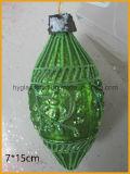 Figura della sfera di natale di colore verde di vetro (rotondo, verde oliva)