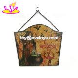 Venda por grosso de madeira barata sinais do Dia das Bruxas para pendurar na parede W09d045