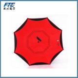 Подгонянный зонтик зонтика обратного логоса перевернутый Двойн-Слоем