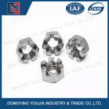 Go6181 mince hexagonale en acier inoxydable de l'écrou crénelé