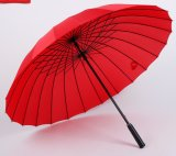 بوليستر صامد للريح [24ك] مظلة سوداء مستقيمة