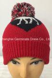 ジャカード袖口(Hjb050)が付いている編む帽子の赤い帽子の帽子