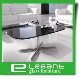 Cinza Glacss temperado mesa de café com Base em aço inoxidável