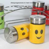 6PC de acero inoxidable de envoltura de vidrio Spice Almacenamiento Jar / jarra de cara sonriente conjunto con tapa y estante