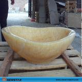 オニックスの自然な石造りの流しの洗面器