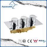 Ronda de cuarto de baño de 3 vías de latón cromado desviador válvula mezcladora de ducha termostática