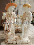 花こう岩の砂岩(SY-X1443)が付いている大理石の彫刻の置物を切り分ける切り分けられた石造りの彫像