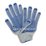 Строка из хлопка трикотажные перчатки из ПВХ синего цвета точек безопасность работы вещевого ящика