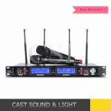 système sans fil de microphone de véritable diversité de fréquence ultra-haute de réception de 300m