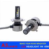 Farol H4 6000k H7 H11 H1 H3 9005 9006 do diodo emissor de luz da luz 45W 6000lm A3 do carro do diodo emissor de luz de Canbus do modelo novo