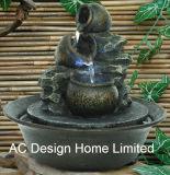 Antike schwarze Farbe Polyresin Innenhauptlicht des dekor-Tisch-Oberseite-Wasser-Brunnen-W/LED