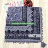 Саржа из моды хлопка напечатано Без шарфа с площади Tassel женщин Шаль