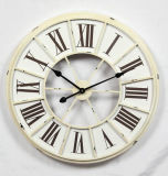 Antique Cream Round Wooden & Metal Wall Clock Home Decoration