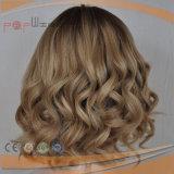 De blonde Krullende Middelgrote Pruik van het Menselijke Haar van GLB (pPG-y-00002)