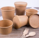 生物分解性熱いスープコップのクラフトの使い捨て可能なペーパースープボウルを取り除きなさい