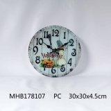 Reloj de pared de cristal templado con papel de impresión para las Artes de la pared