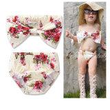 水着を浸す赤ん坊の女の子の花プリントBowknotの包帯のビキニ