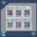 Escritura de la etiqueta de la etiqueta engomada del holograma de la seguridad con la impresión del código de Qr