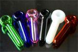 A colher de vidro do tabaco colorido de vidro de Bontek conduz as tubulações secas da mão da erva