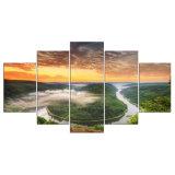 5 [بنل] حديث [هد] بحيرة ماء وسماء سحابة طبعة نوع خيش فنّ جدار يشكّل صورة زيتيّة لأنّ يعيش غرفة جدار صورة [ن-13]