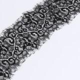 Tessuto di tessile femminile del tessuto del panno del merletto francese nero