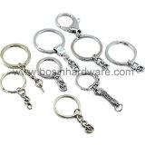 Серебристый металлический круглый брелок с обладателем ключа крюк