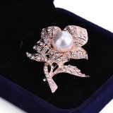 진주 다이아몬드 꽃 형식 보석 브로치
