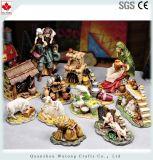 Het goedkope Beeldje van de Trog van de Decoratie van de Hars van Kerstmis van de Prijs Miniatuur Dierlijke