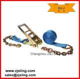 El trinquete de la extensión de cadena ata las correas para azotar del cargo