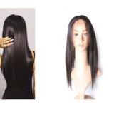 가득 차있는 레이스 자연적인 색깔 여자를 위한 처리되지 않은 긴 머리 가발