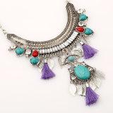 Ожерелье Statemet, длинние листья цепи края Gemstone Boho отбортовывает шкентель ожерелья ворота для женщин