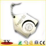 Держатель Keychain монетки знака внимания вагонетки покупкы сплава цинка