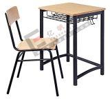 正方形の管の販売のための単一の学校の机および椅子、木の調査の机および椅子、卸売の単一の調査の机および椅子