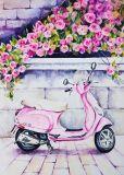 Neue Ankunfts-modernes dekoratives HauptÖlgemälde des rosafarbenen Motorrads